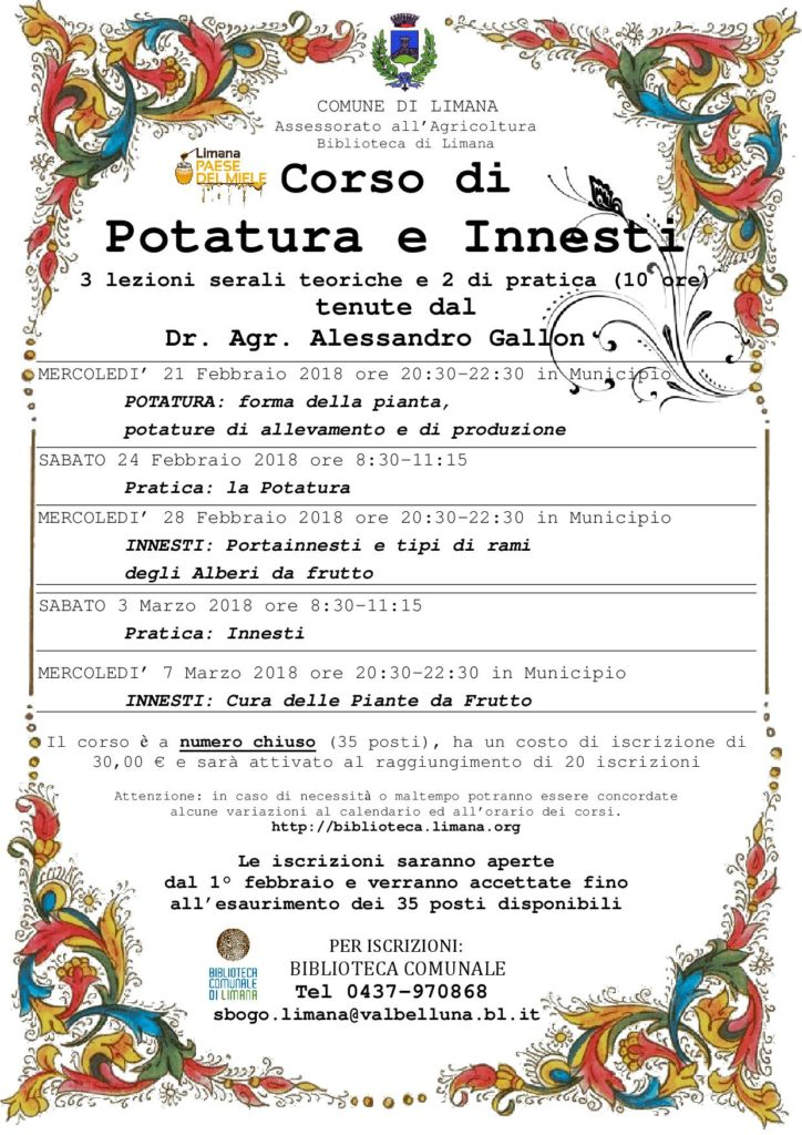 Calendario Innesti.Nuovo Corso Di Potatura E Innesti 2018 A Limana Biblioteca
